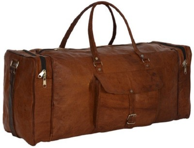 pranjals house real leather square duffle bag Travel Duffel Bag(brown)
