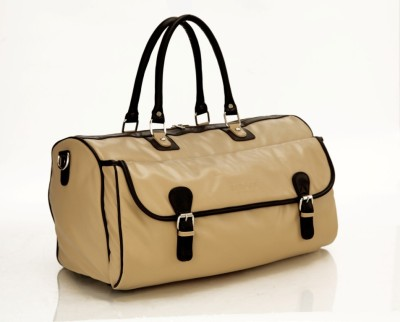 Mboss Multi Use Faux leather Unisex Cream Small Travel Bag - Medium(Beige)