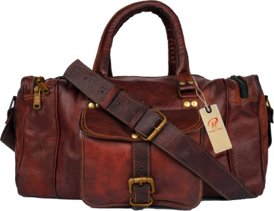 pranjals house genuine leather duffel cum overnite gym bag Travel Duffel Bag(brown)