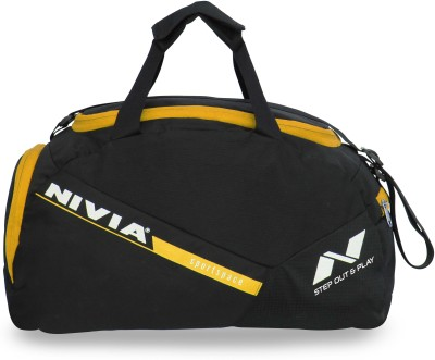 Nivia Sports Space Gym Bag 12 inch/30 cm Travel Duffel Bag(Black, Yellow)