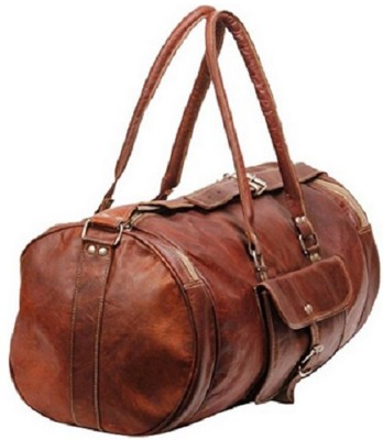 Pranjals House 22 inch round leather cum gym bag Travel Duffel Bag(Brown)