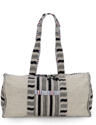 The House of Tara Ethnic Handloom Fabric Weekender Travel Duffel Bag(White)