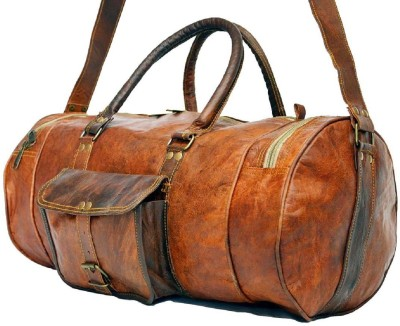 Pranjals House genuine leather Travel Duffel Bag(Brown)