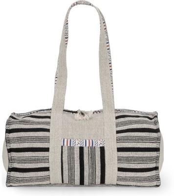 The House of Tara Ethnic Handloom Fabric Overnighter Travel Duffel Bag(White)