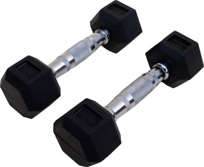 De Jure Fitness Imported Hex (Hexagonal) Shaped 2 Kgs Pair (Total 4 Kgs) Fixed Weight Dumbbell