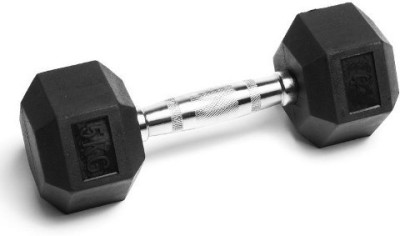 Gymnasio Rubber Coated Hex (Single) 5 kg Fixed Weight Dumbbell