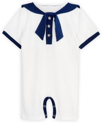 ATUN Baby Boy's Blue, White Romper