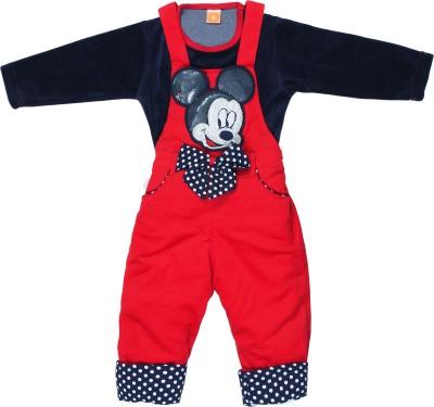 Munna Munni Kids Apparel Baby Girl's Dark Blue, Red Dungaree