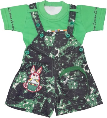 KABEER Baby Boy's Green Dungaree