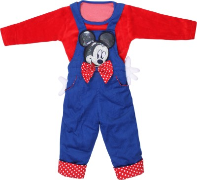 Munna Munni Kids Apparel Baby Girl's Red, Blue Dungaree