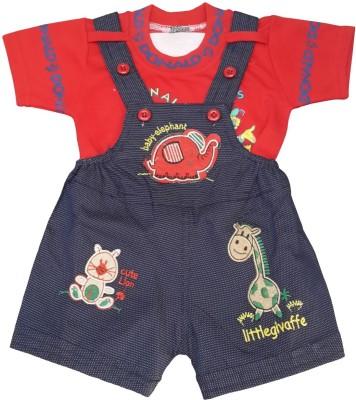 KABEER Baby Boy's Red Dungaree