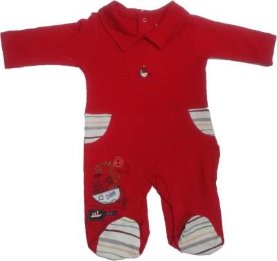 Johny Johny Yes papa Baby Boy's Red Romper