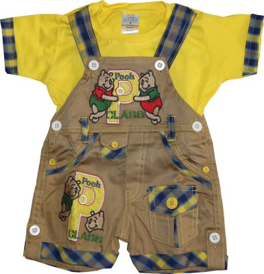 Oly Kids Baby Boy's Yellow Dungaree