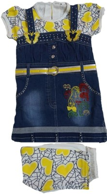 Lilltoons Girl's Yellow, Blue Dungaree