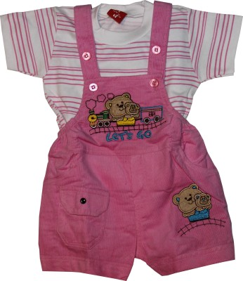 ZuZu Baby Girl's Pink Dungaree