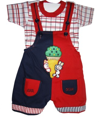 Icable Baby Boys Red Dungaree