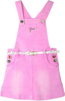 Yellow Pingo Baby Girl's Pink Dungaree