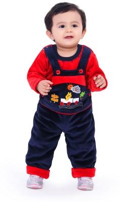 Munna Munni Kids Apparel Baby Boy's Dark Blue, Red Dungaree