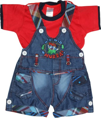 Oly Kids Baby Boy's Red Dungaree