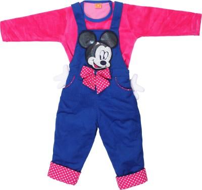 Munna Munni Kids Apparel Baby Girl's Blue, Pink Dungaree