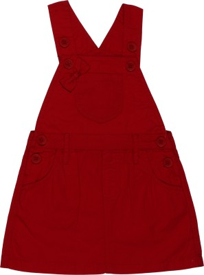 ChildKraft Dungaree For Girls(Red)
