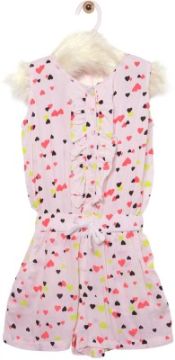 Roses By Rose Vanessa Girl's Beige, Multicolor Romper