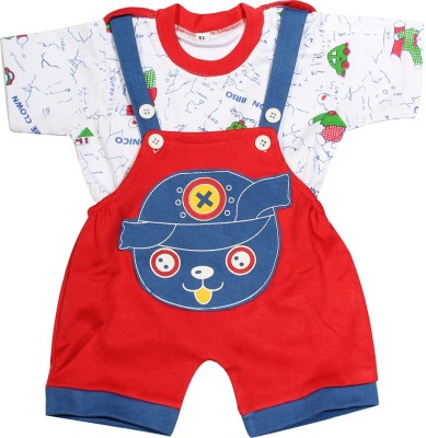 Babeezworld Baby Boy's Red Dungaree