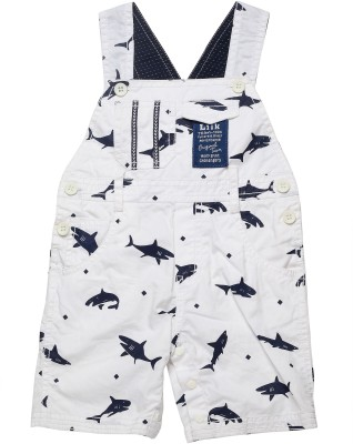 Little Kangaroo Boy's White Dungaree