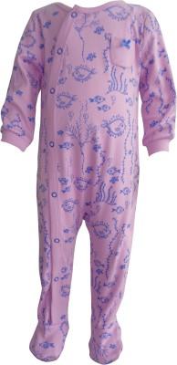 Teddy's choice Baby Girl's Purple Romper