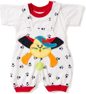 Camey Baby Girl's White Dungaree