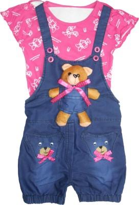 DesiWeaver Girl's Pink Dungaree