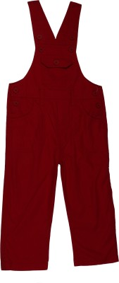 ChildKraft Dungaree For Boys Solid Cotton(Red)