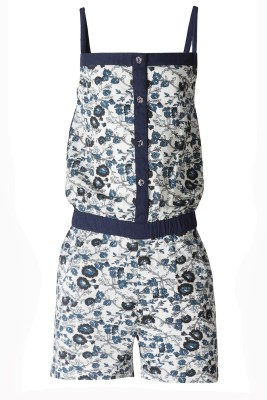 Naughty Ninos Romper For Girls Floral Print Cotton(Dark Blue)