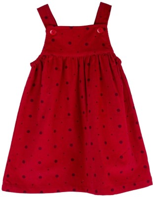 Snuggles Baby Girl's Red Dungaree