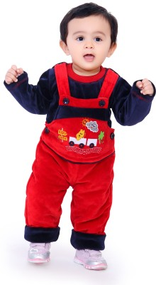 Munna Munni Kids Apparel Baby Boy's Red, Dark Blue Dungaree