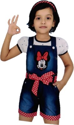 Leo Girls Girl's Dark Blue, White Dungaree