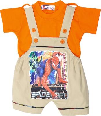 Xtrem Baby Boy's Beige, Orange Romper