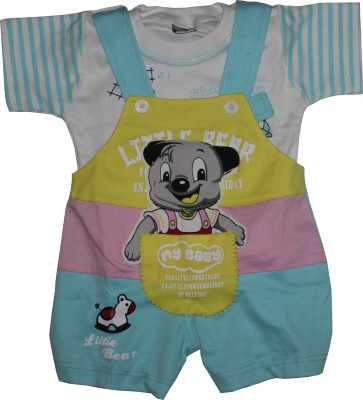 Kid N Cub Baby Boy's Blue Dungaree