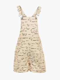 Naughty Ninos Dungaree For Girls Printed Cotton(Beige)