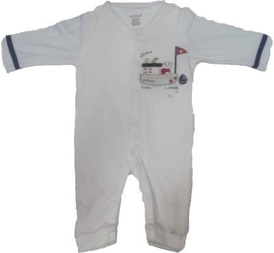 Johny Johny Yes Papa Baby Boy's White Romper