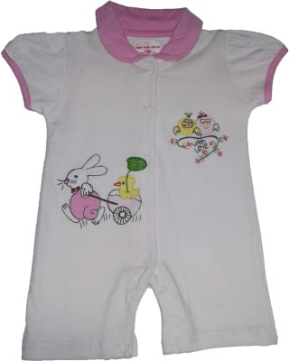 Johny Johny Yes Papa Baby Girl,s Pink Romper