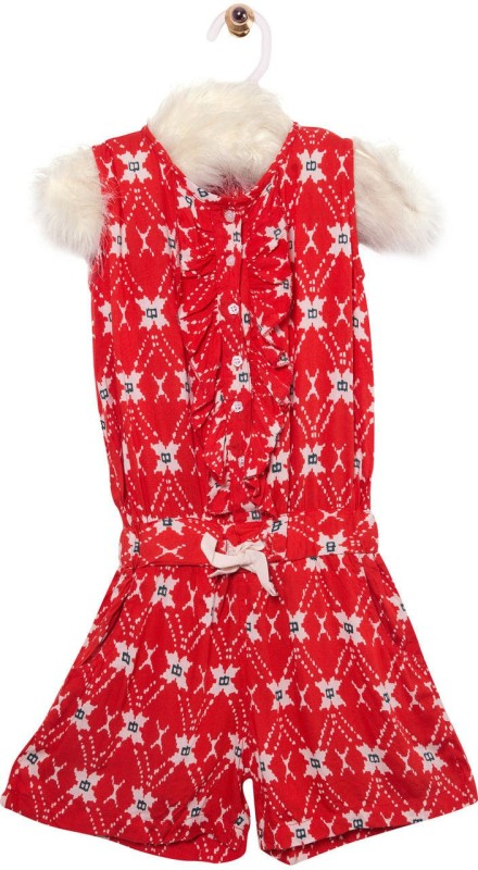 Roses By Rose Vanessa Romper For Girls Printed Cotton(Red)