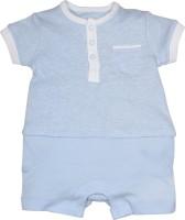 FS Mini Klub Romper For Boys Casual Checkered Cotton(Light Blue)