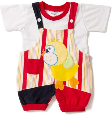 Camey Baby Girl's Red Dungaree