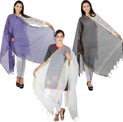 Craftghar Chanderi Checkered Women's Dupatta