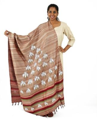 Ethnicshack Tussar Silk Self Design Women's Dupatta