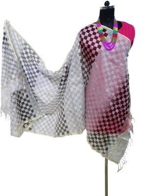 Toygully Art Silk, Chanderi, Silk Cotton Blend Printed, Geometric Print Women's Dupatta