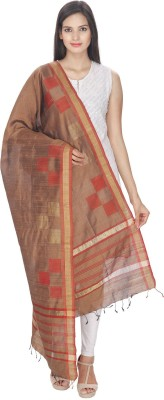 Loom Legacy Pure Silk Checkered Women's Dupatta at flipkart