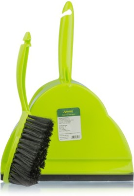 Aasaan With Brush Plastic Dustpan(Green)