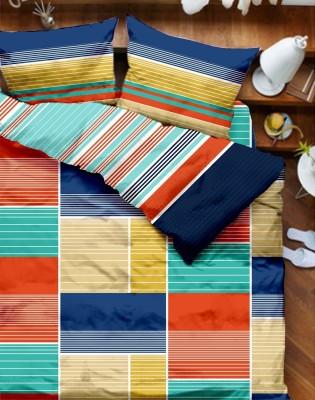 Tangerine Geometric Double Quilts & Comforters Orange, Blue, Multicolor